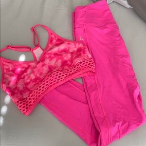Pink sports bra and tights